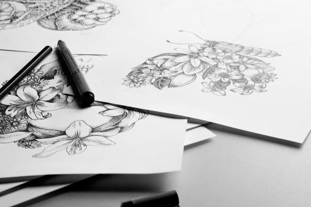 sati stipple art drawings