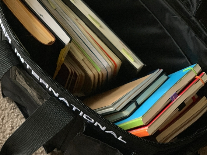 bag of sketchbooks