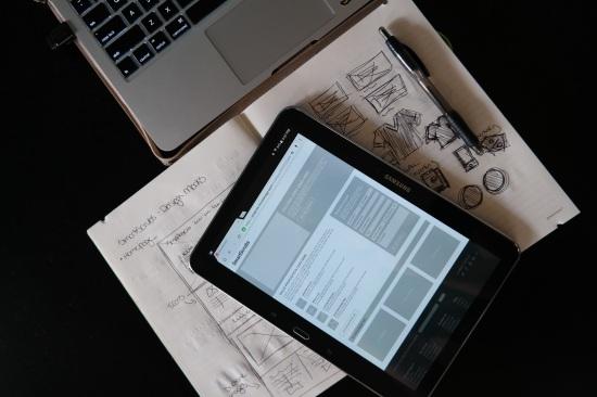 sketchbook and tablet